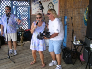 Jimmy Lathan, right, has been the live sound engineer for Sea-Cruz since 2007, and gets in on some of the performances, too!